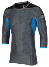 adidas Men's TechFit climachill Grey Blue Three Quarter Sleeve Compression T-Shirt