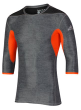 adidas Men's TechFit climachill Grey Orange Three Quarter Sleeve Compression T-Shirt