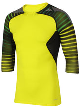 adidas Men's TechFit climacool Yellow 3/4 Length Sleeve Compression T-Shirt