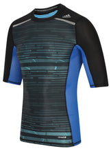 adidas Men's TechFit Chill Black-Blue Compression T-Shirt