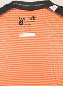 adidas Men's TechFit Chill Black-Red Compression T-Shirt
