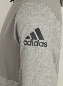 adidas Men's Workout climalite Slim Fit Pullover Hoodie Grey BR8537 Logo