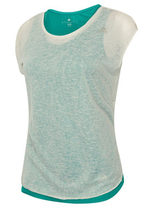 adidas Women's Double Layer climalite Vest and T-Shirt Green/White