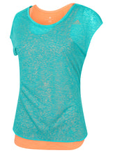 adidas Women's Double Layer climalite Vest and T-Shirt Coral Pink/Green