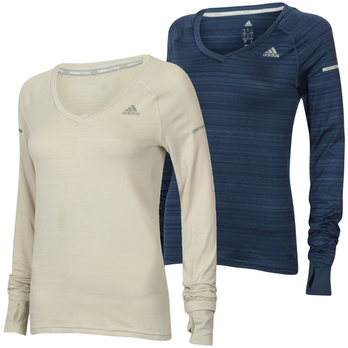adidas Women's Go-To Gear Slim Fit V-Neck Long Sleeve Running T-Shirt