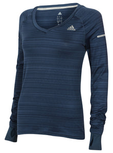 adidas Women's Go-To Gear Slim Fit V-Neck Long Sleeve Running T-Shirt Blue