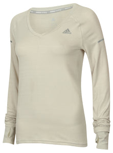 adidas Women's Go-To Gear Slim Fit V-Neck Long Sleeve Running T-Shirt White