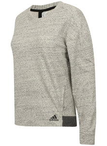 adidas Womens Grey Melange Crew Cotton Fleece Sweatshirt - S93954 - Front