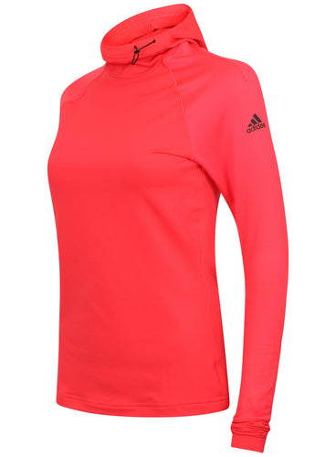 adidas Womens Techfit climawarm Fitted Training Hoodie AY6193 Shock Red Front
