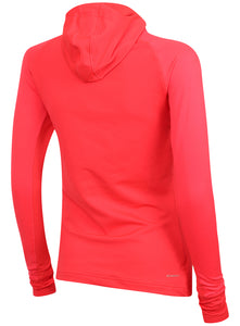 adidas Womens Techfit climawarm Fitted Training Hoodie AY6193 Shock Red Rear