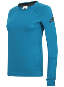 adidas Womens climaheat Long Sleeve Thermal Training Top - S95010 - Blue Front