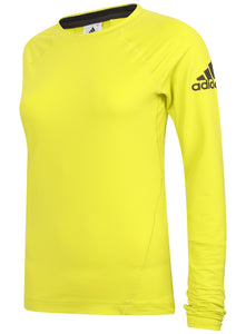 adidas Womens climaheat Long Sleeve Thermal Training Top - AY8604 - Yellow Front