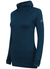 adidas Women's Fitted climaheat Hooded Training Top - AP7347 - Blue Front