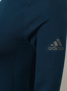adidas Women's Fitted climaheat Hooded Training Top - AP7347 - Blue Logo