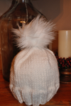 White cotton Hat with Faux Fur Pom Pom