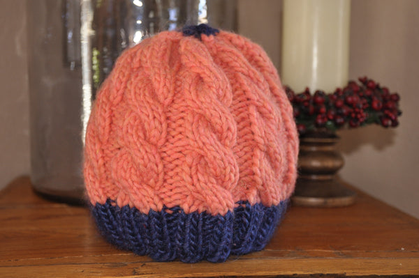 Kids Wool Coral and Navy Cable knit hat