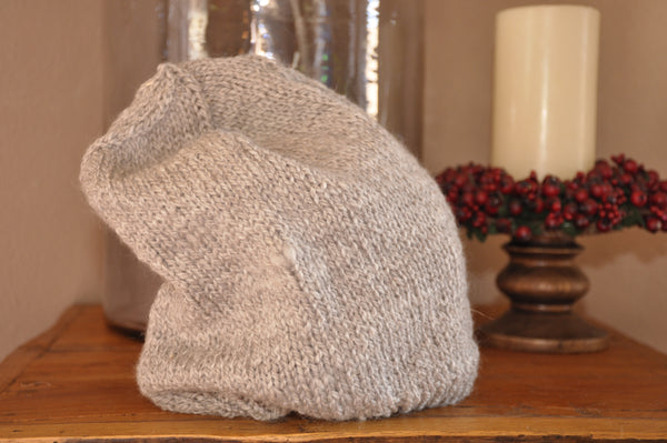 Grey Knitted Slouchy Hat