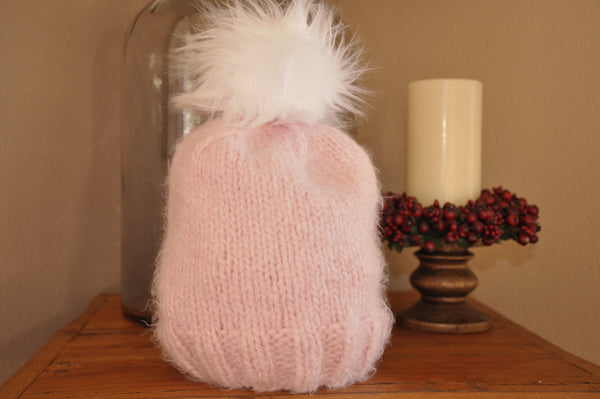 Super soft pink knitted hat with Faux Fur pom pom