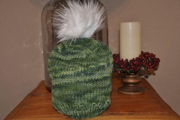 Green Wool Beanie with Faux Fur Pom Pom