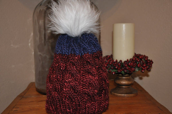 Cable Knit Hat with Faux Fur Pom Pom