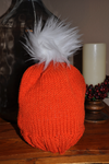 Pumpkin Orange Hat with Faux Fur Pom Pom