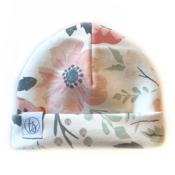 Tiny Sprigs Soft Meadow Floral Organic Baby Hat