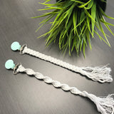Tiny Sprigs Quinn Macrame Pacifier Clips Mint Clips