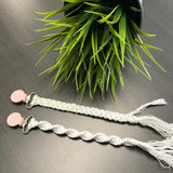 Tiny Sprigs Quinn Macrame Pacifier Clips Pink Clips