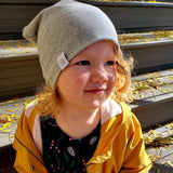 Tiny Sprigs Slouchy Beanie Light Grey Dusk