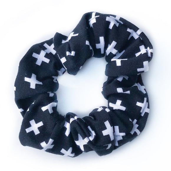 Tiny Sprigs White Crosses Hair Scrunchies