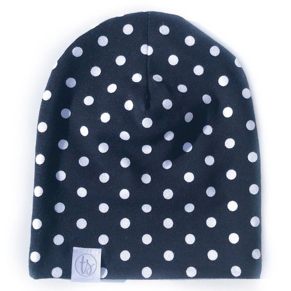Tiny Sprigs Polka Dots on Black Slouchy Beanie