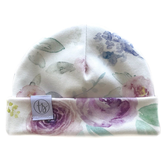 Tiny Sprigs Spring Watercolour Organic Baby Hat
