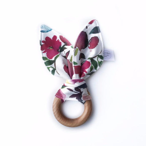 Tiny Sprigs Bunny Ear Teether in Organic Boho Rose