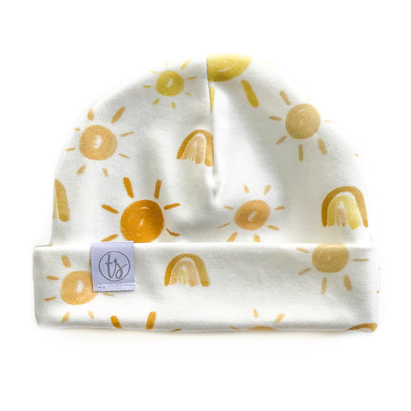 Tiny Sprigs Neutral Rainbows Organic Baby Hat