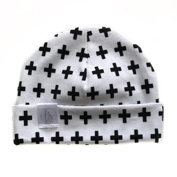 Tiny Sprigs Black Crosses Baby Hat