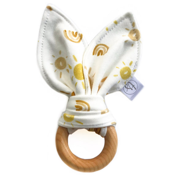 Tiny Sprigs Neutral Rainbows Organic Bunny Ear Teether