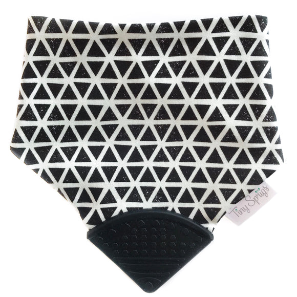 Tiny Sprigs Monochrome Triangles Organic Teething Drool Bib