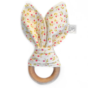 Ditsy Pink Organic Bunny Ear Teether
