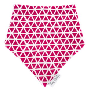 Tiny Sprigs Pink Triangles Organic Drool Bib