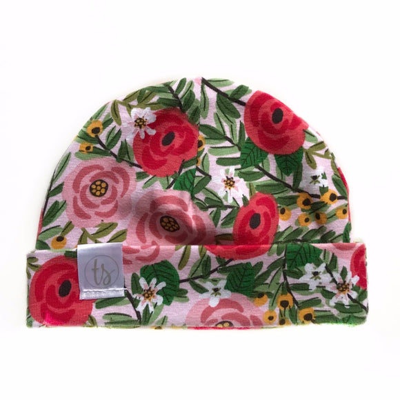 Tiny Sprigs Rose Garden Pink Baby Hat