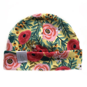 Tiny Sprigs Rose Garden Yellow Baby Hat