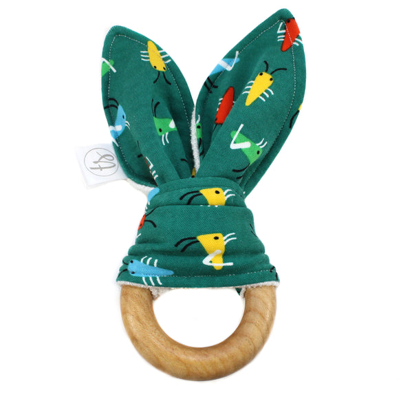 Tiny Sprigs Green Bugs Organic Bunny Ear Teether