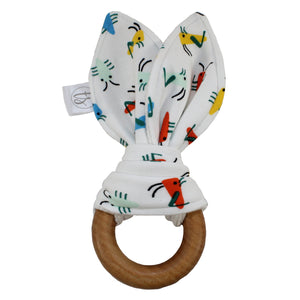 Tiny Sprigs White Bugs Organic Bunny Ear Teether