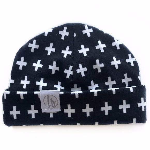 Tiny Sprigs White Crosses Baby Hat