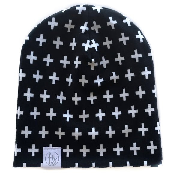 Tiny Sprigs White Crosses Slouchy Beanie