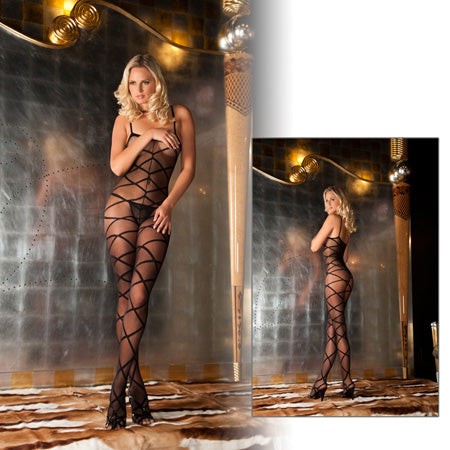 Strapped Up Sheer Bodystocking Black - Zinful Pleasures