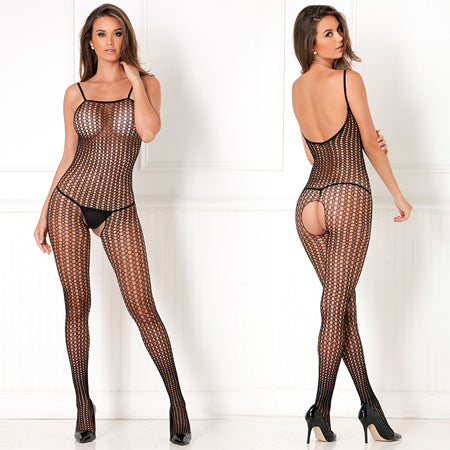 Crotchless Crochet Knit Bodystocking Black Queen - Zinful Pleasures
