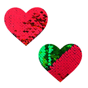 Neva Nude Pasty Heart Sequins Red To Green - Zinful Pleasures