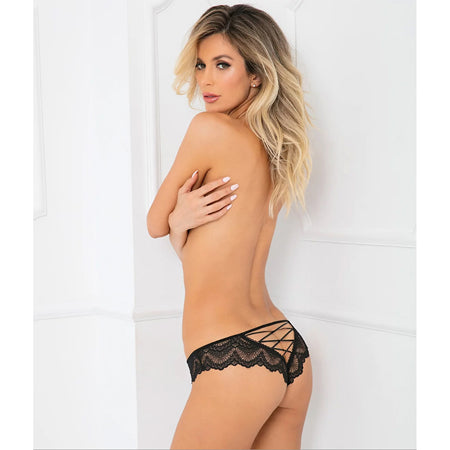 Come Undone Crotchless Panty Black - Zinful Pleasures