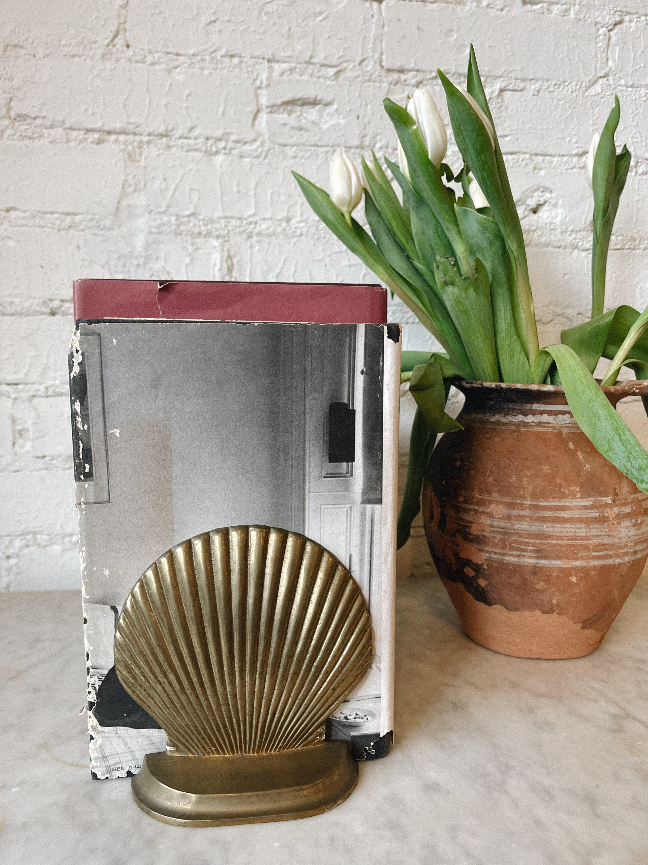 1970's Brass Shell Bookends